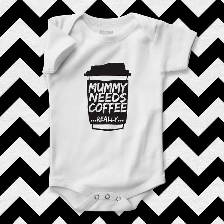 funny baby bodysuit, mummy needs coffee, baby clothes with jokes, baby rompers