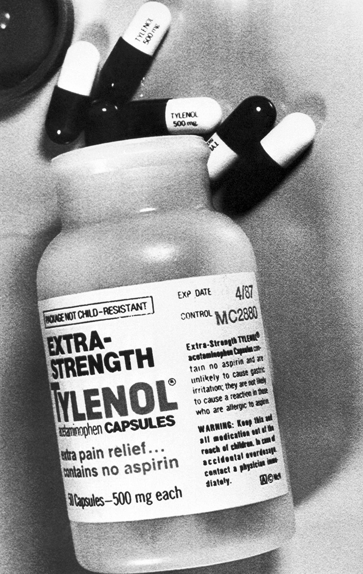 This bottle of Extra-Strength Tylenol, photographed in 1982, has the same production series number (MC 2880) as the bottles which were found to have caused cyanide poisoning to seven people in the Chicago area. In 1982 seven people died after ingesting Tylenol capsules laced with cyanide poison. The cyanide tampering scare led to reforms in packaging of over-the-counter substances and federal anti-tampering laws.