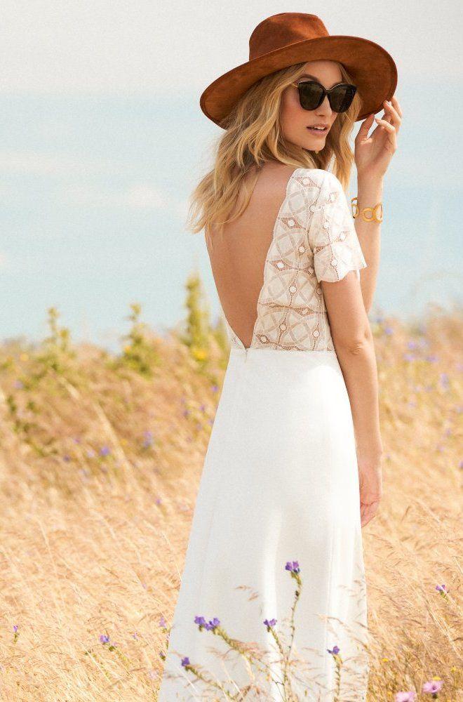 Rembo styling — Kollektion 2017 — Filou: Sehr modernes Crepe Kleid mit tiefem V Rückenausschnitt und geometrischer Spitze.