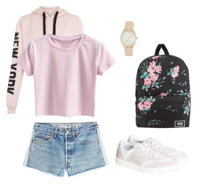 """""""Pink girly"""" by mjsuchecka on Polyvore featuring moda, RE/DONE, New Balance, Vans i Nine West"""