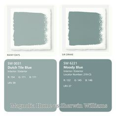 Magnolia Home Paint vs. Sherwin Williams Paint. (Just used sherwin williams color snap app to match!) Fixer Upper Paints. Blue Paints. Rainy Days matches dutch tile blue and Sir Drake matches moody blue.