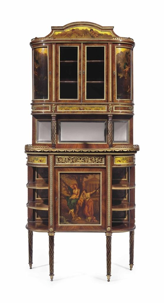 A French Ormolu Mounted Kingwood And Vernis Martin Vitrine On Stand By Victor Raulin Paris