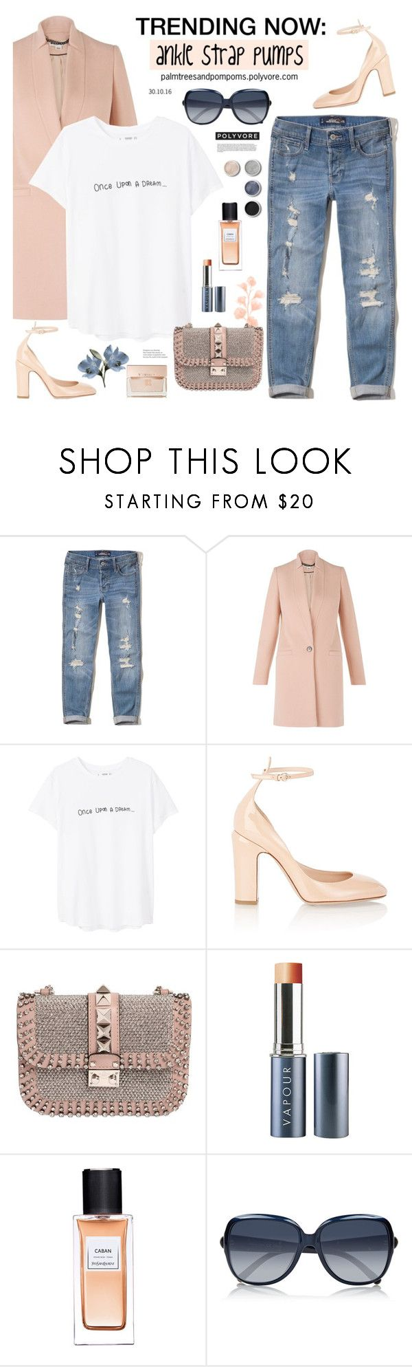 """""""Trending Now: Ankle Strap Pumps / Valentino Patent Tango Ankle-Strap Pumps"""" by palmtreesandpompoms ❤ liked on Polyvore featuring Hollister Co., Whistles, MANGO, Valentino, Vapour Organic Beauty, Yves Saint Laurent, Terre Mère, Chloé, Givenchy and valentino"""