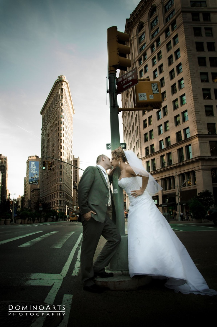 #Wedding #portrait of the #bride and the #groom at the never sleeping #New #York City by #DominoArts #Photography (www.DominoArts.com)