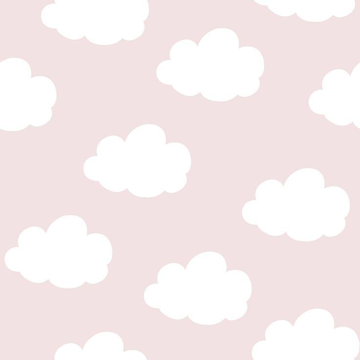 Wolken behang roze/wit bij Behangwebshop