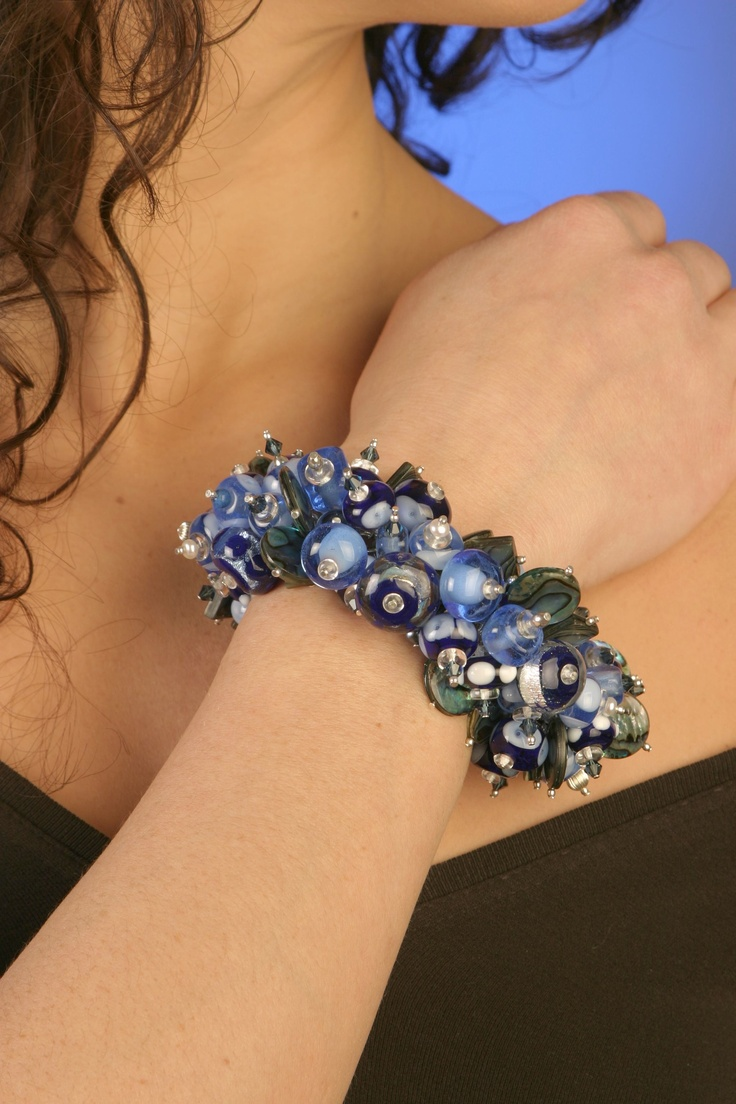A glass bracelet that I made out of my own glass beads.  Abundance of beauty