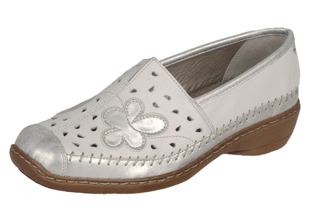 Casual every day walking shoe with silver tones from Rieker's S/S 15 collection