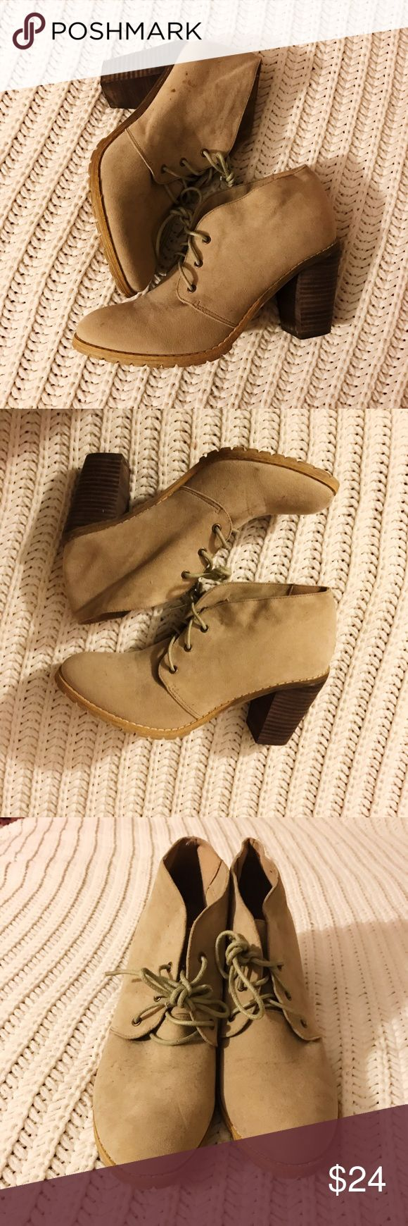 Tan Booties! 💛 tan booties from restricted. Only worn a handful of times- some specks on one shoe as shown in picture, which I'm sure could be cleaned off- I just don't have anything to do it with! excellent condition aside from that which honestly looks more noticeable in the picture. Size 8- true to size Restricted Shoes Ankle Boots & Booties