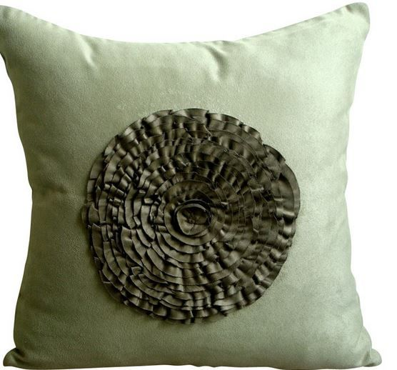 Vintage Style Flower Olive Green Suede Pillow Cover  http://www.houzz.com/photos/14611654/Vintage-Style-Flower-Olive-Green-Suede-Pillow-Cover-26x26-contemporary-pillowcases-and-shams