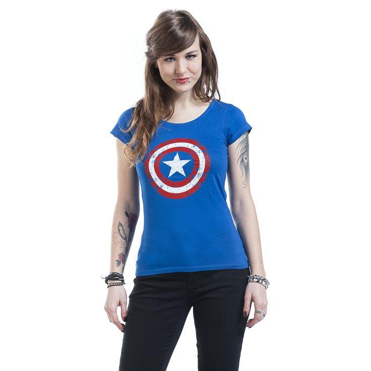 """Maglia donna """"Cracked Shield"""" di #CaptainAmerica blu con logo del supereroe stampato sulla parte frontale."""