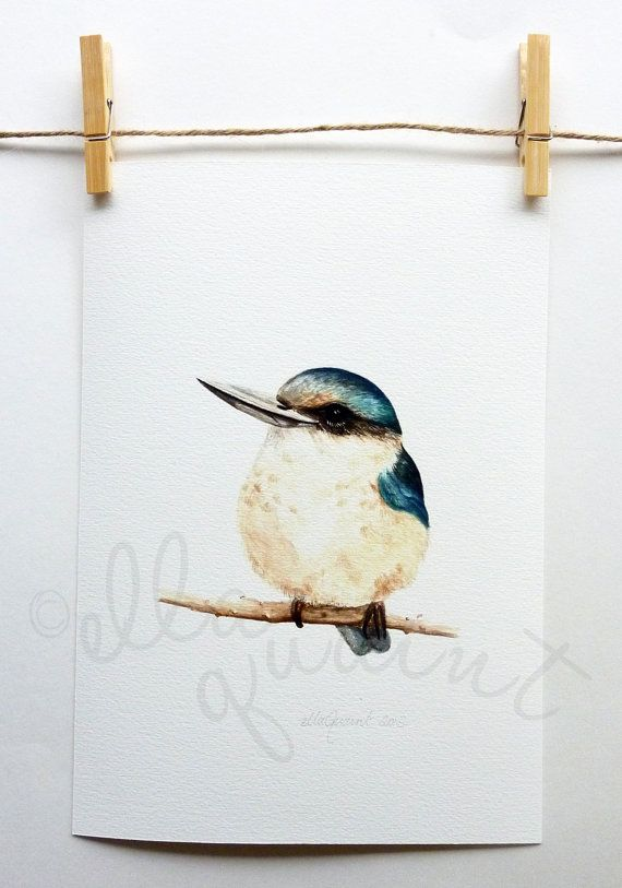 Kotare  a native New Zealand bird giclee print by ellaCute on Etsy, $29.00