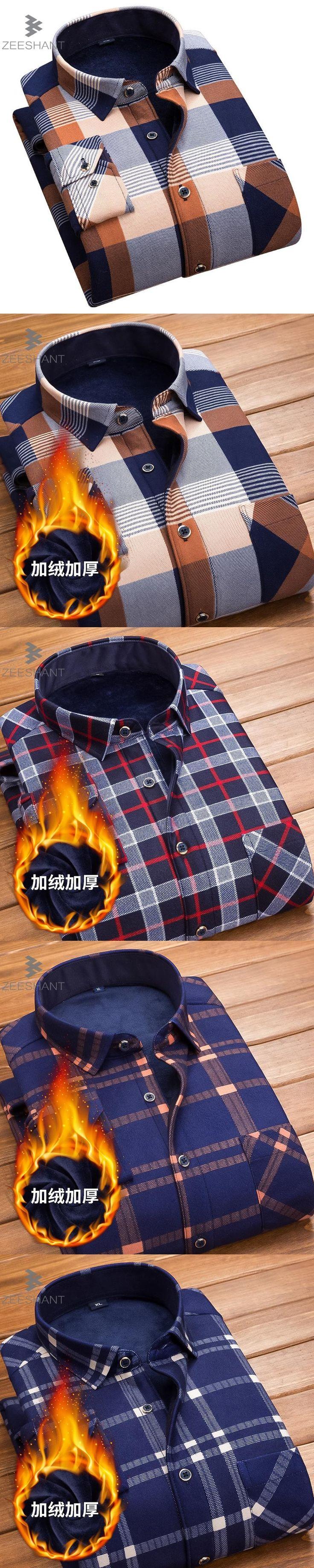 ZEESHANT 2017 Slim Fit Men Winter Long Sleeve Dress Shirt Warm Casual Vintage Cotton Mens Formal Shirt Camisa Masculina 4XL