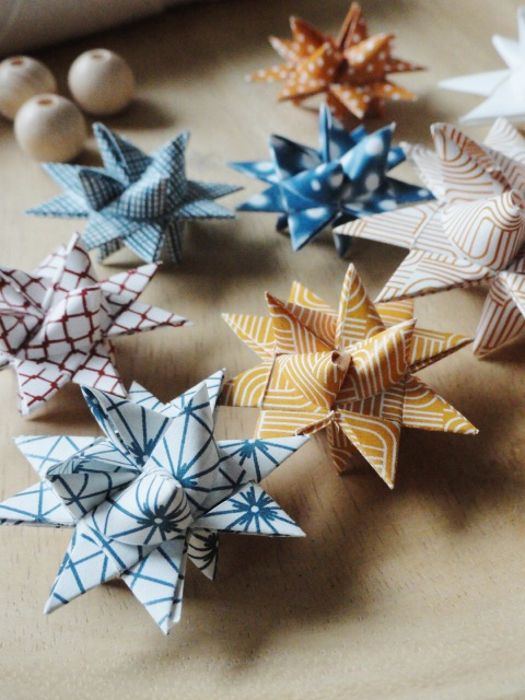 danish paper stars! (As kids, we made these and sold them for 25 cents each to earn money. We dipped them into melted wax, sprinkled with glitter and put an ornament hook through one tip.)