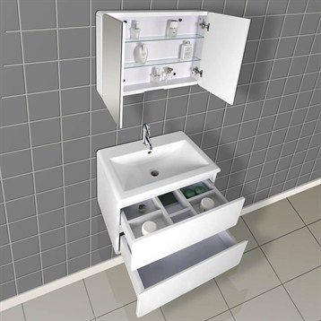 Bath Authority DreamLine Wall Mounted Modern Bathroom Vanity With Porcelain  Counter And Medicine Cabinet   White