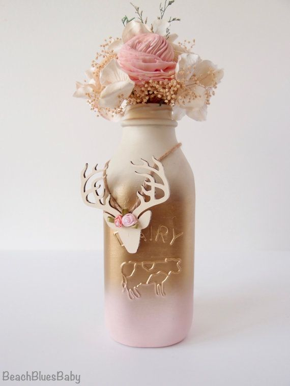 Pink and Gold Baby Shower Painted Milk Bottle by BeachBluesBaby