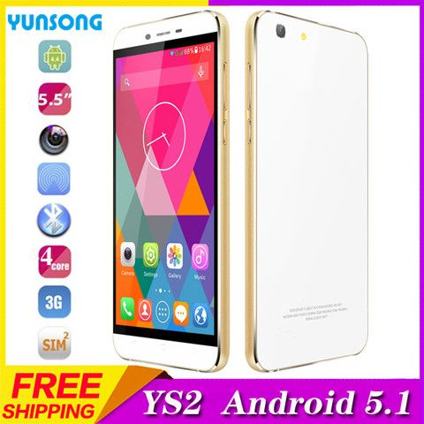 YUNSONG YS2 5.5inch Smartphone Android5.1 telephone MTK6580 Quad Core Cell Phone Dual Sim 3G 2G 5MP Camera unlocked Mobile Phone