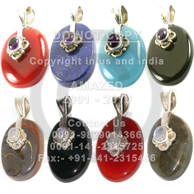 Indian handmade 92.5 Sterling Silver Hallmarked Certified Wholesale natural semi precious studded beautiful handcrafted Pendant Multi stones used.per piece weight - 15 to 18 gm approx. Our Price80 $USD