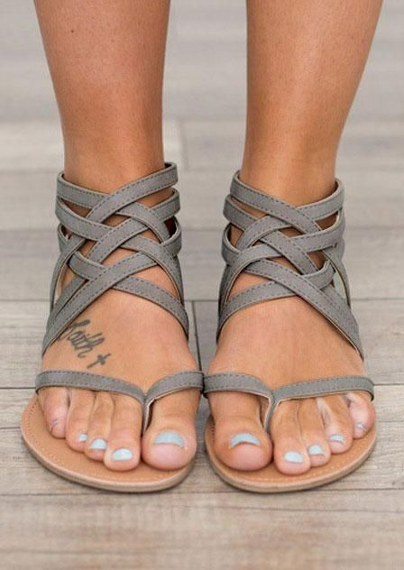 7a4cc8ff1c2 Summer Cross-Tied Zipper Flat Sandals. So freakin cute | Fashion ...
