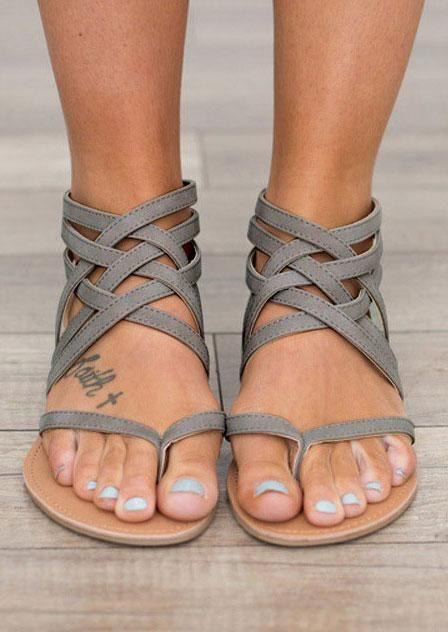 Summer Cross-Tied Zipper Flat Sandals. So freakin cute  897514b6ccf4