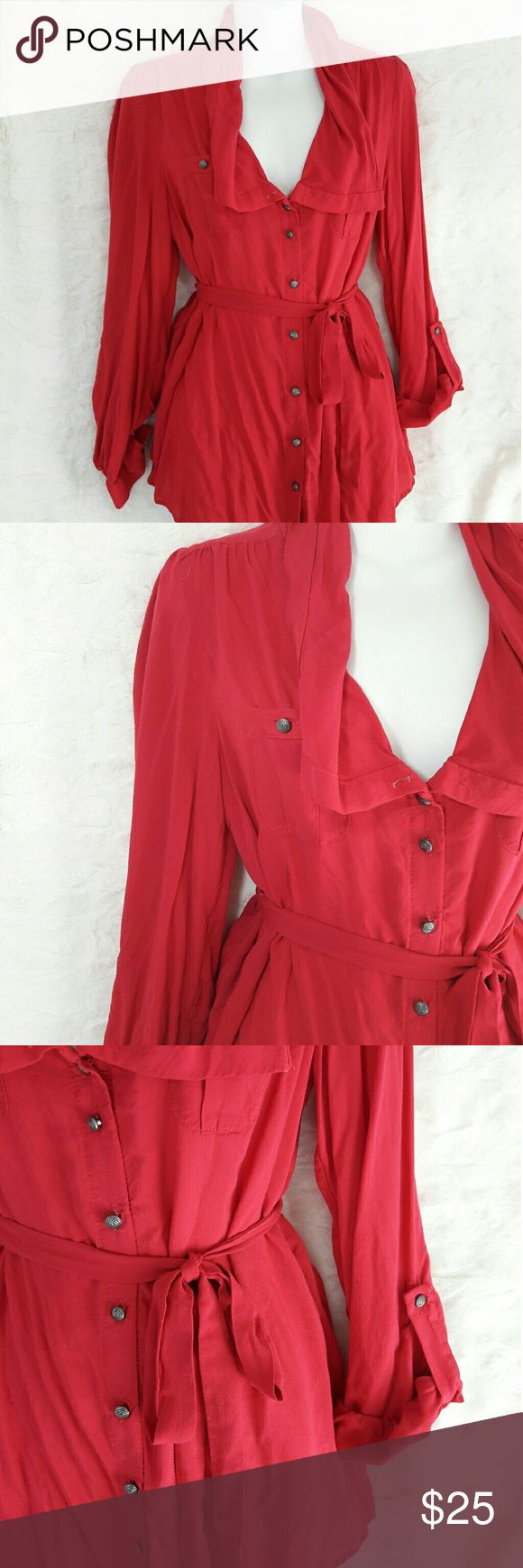 Odille hot pink blouse sz2 Like new! Very nice Nylon blouse size 2 , pictures show a tint of red, but its actually hot pink top Odille Tops Blouses