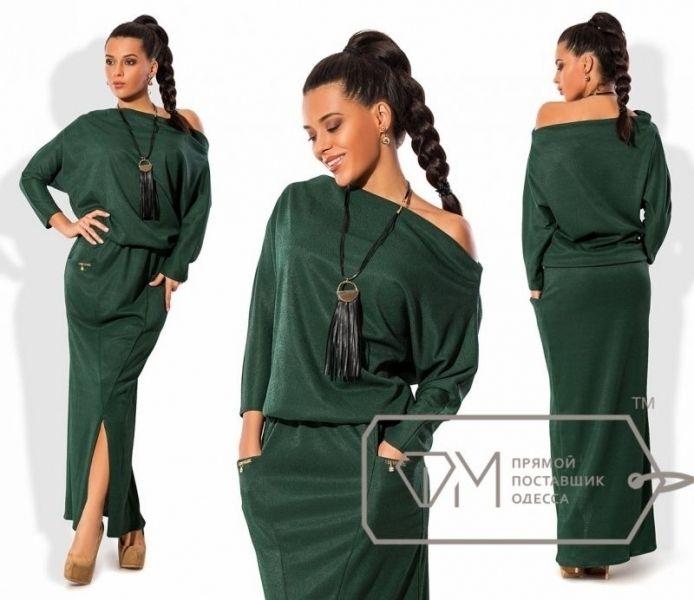 Одежда Стильное повседневное платье макси летучая мышь темно-зеленое