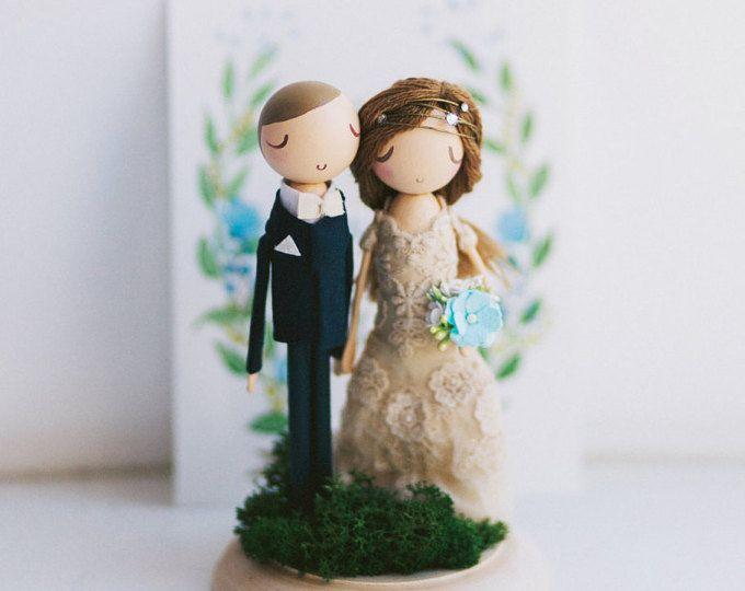 Rústico topper de la torta de boda pastel de boda Topper de la torta de cumpleaños/madera Topper/madera Peg muñeca regalo/personalizado/Boho