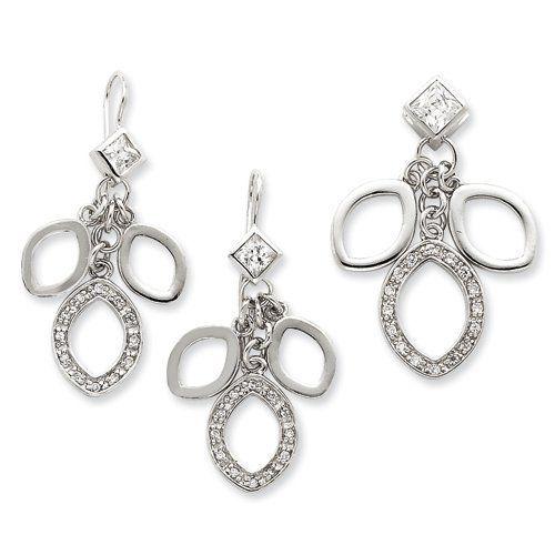 Sterling Silver CZ Dangle Pendant & Earrings Set West Coast Jewelry. $152.95