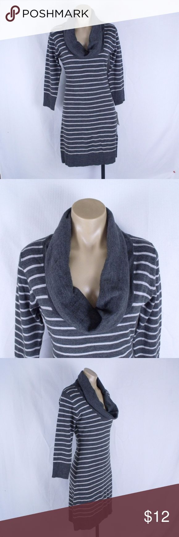 """Connected Apparel Gray Sweater Dress Size: Small  ~ Nice charcoal gray striped sweater dress with cowl neckline. 3/4 length sleeves, dark and light gray stripes, pullover style. Career or casual. ~ 100% acrylic ~ Actual measurements - 39"""" long, 18"""" underarm to underarm, 20"""" sleeve length.  New with tag. Connected Apparel Dresses"""