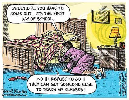 First Day of School Teacher humor, School cartoon