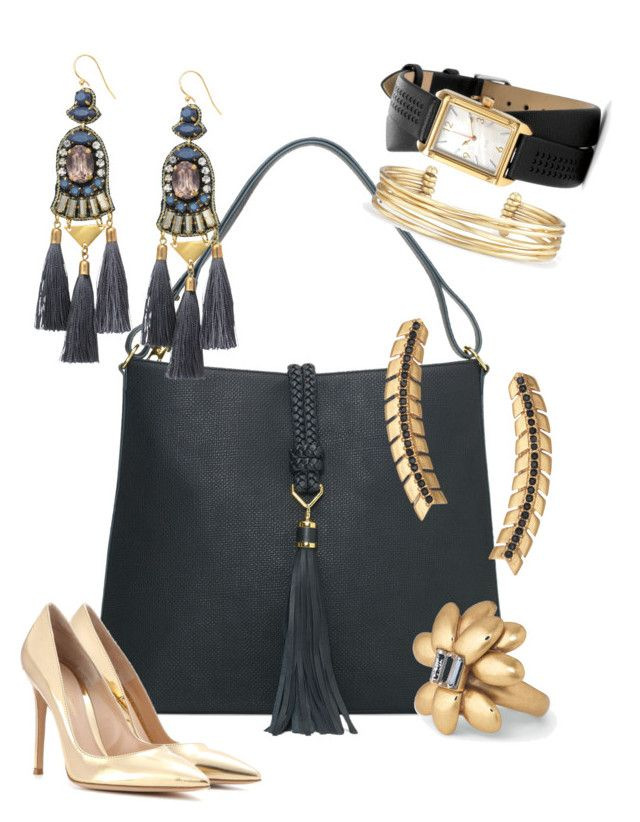 """Tassels in Black Stella & Dot Fall 2016"" by kmathews62 on Polyvore featuring Stella & Dot and Gianvito Rossi"