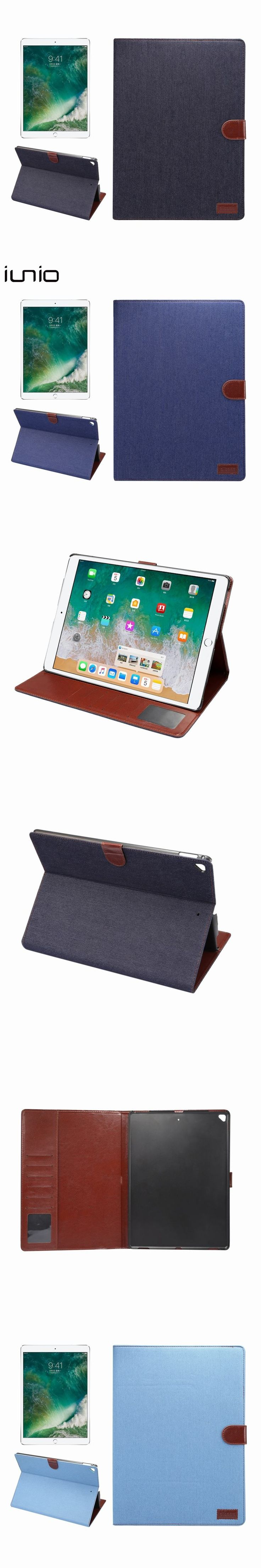 For ipad Pro 12.9 Case Stand Denim Leather Cover Case For ipad Pro 12.9'' Protective Tablet Case With Card Holder 2017 Flip Case