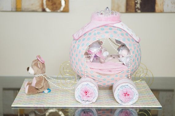 shower diaper cake fancy baby shower gift princess carriage cinderella