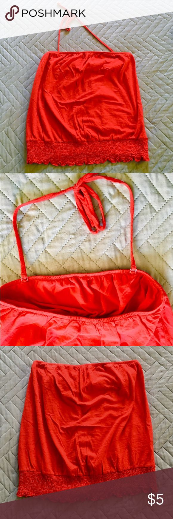ON Convertible Red Halter Top It has detachable straps that converts it from a tube top to a halter top. Has an elastic ruched bottom. Perfect for spring/summer! Old Navy Tops