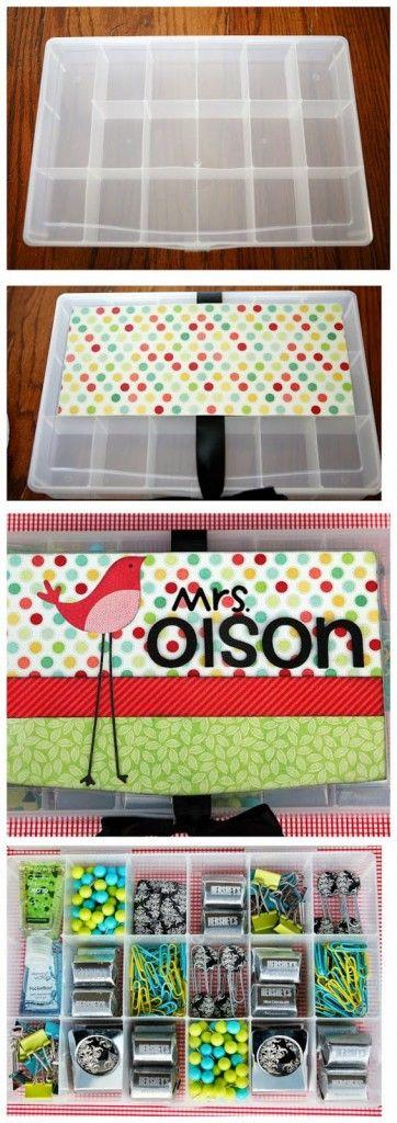 Box of teacher goodies - Teacher Appreciation Ideas