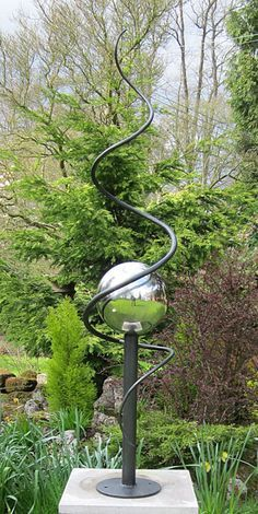 steel and stainless steel sculpture for gardens