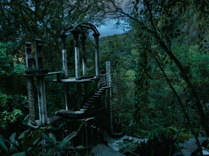 English eccentric Edward James created Las Pozas in Mexico, a garden with surreal follies like the concrete Bamboo Palace—durable and immune to the vagaries of weather.