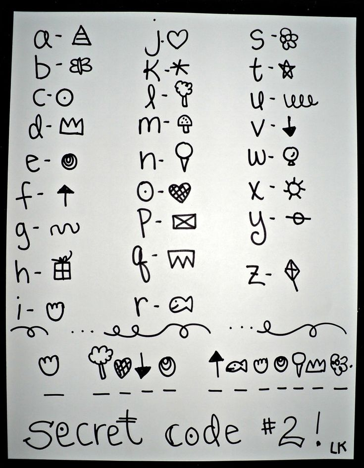Secret code alphabet - part of a friendship journal tutorial from Laura Kelly