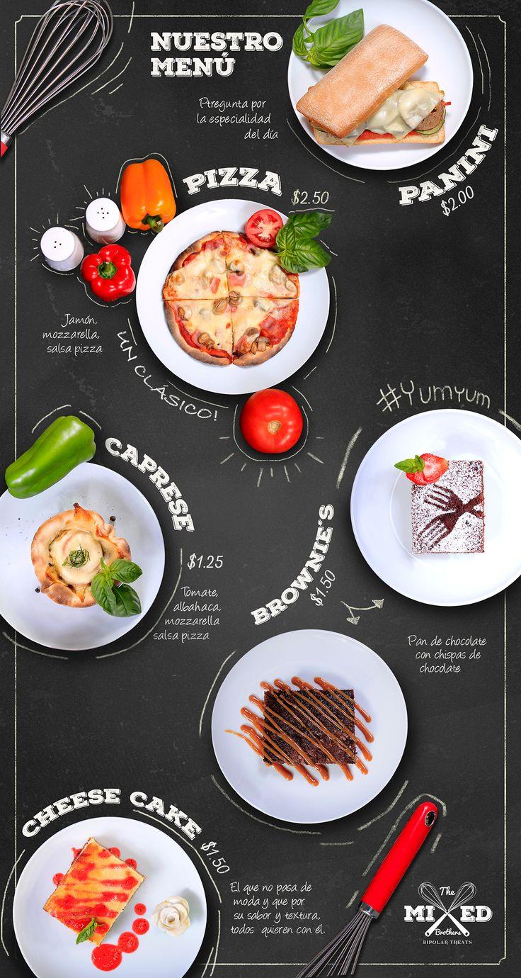-Food Stylish 6 platos -Fotografías de 6 productos del menu en 2 angulos por plato (12 fotografías) -Diseño de menú poster para tienda