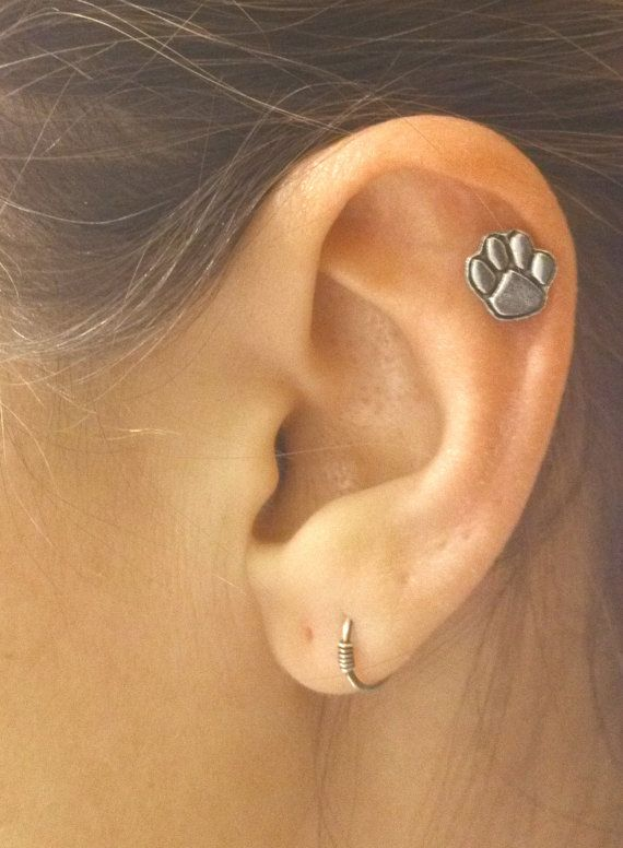 Animal Paw Print Cartilage Earring Helix Piercing by MidnightsMojo