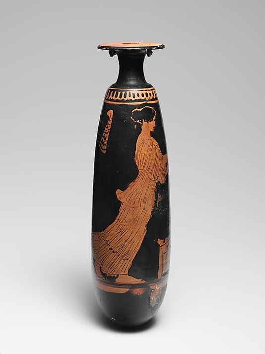 Terracotta alabastron (perfume vase)  Period: Classical Date: ca. 440–430 B.C. Culture: Greek, Attic