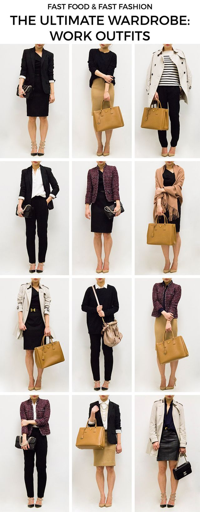 """Building on the original 12 """"closet basics,"""" it doesn't take much—just six more items—to create new outfits that are suitable for business casual work environments. I recommend adding (1) drapey blous"""