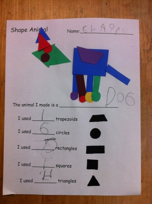 Kindergarten Shape Animal- kids design and create an animal using precut pieces, then they use their best spelling to write what it is, then count the number of each shape used. Art, ELA, Math. Boom.