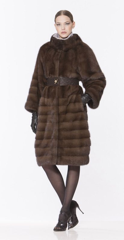 Braschi Natural Brown Mink Fur Coat