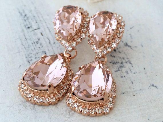 Rose gold Blush Pink crystal Swarovski Chandelier earrings, Bridal earring, Bridesmaids gift, Dangle earring, Drop earring, gold or silver
