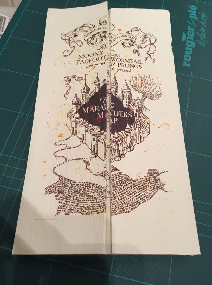 Carte du maraudeur Harry Potter réalisé avec du parchemin