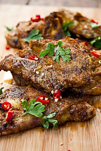 Recipe for Indian Spiced Lamb Chops with Cucumber Salad 8 lamb chops 5tbsn olive oil 2 tsp ground cumin 2tbsn ground coriander 2tsp smoked paprika 1/2 tsp each nutmeg and ground cloves 2tsp turmeric 1-2tsp chilli powder