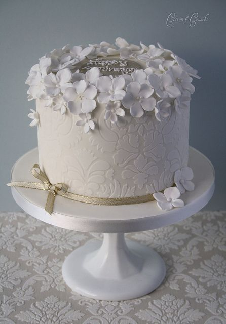 Damask anniversary cake by Cotton & Crumbs