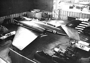 The Avro Canada CF-103 was a proposed Canadian interceptor, designed by Avro Canada in the early 1950s as a development, and possible replacement of the company's CF-100 Canuck, that was entering service at the time with the Royal Canadian Air Force (RCAF).[1] Although intended to be capable of flying at transonic speeds, the CF-103 only proffered a moderate increase in performance and capability over the CF-100; subsequently, the aircraft never progressed beyond the mock-up stage.