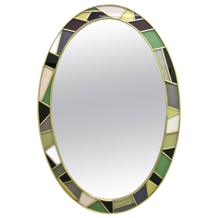 1970s Italian Modern Oval Mirror in Green Grey Blue Yellow Black White and Brass