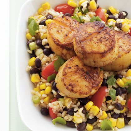 Pan-Seared Scallops with Southwestern Rice Salad (or Couscous with Tomatoes or Avocado)